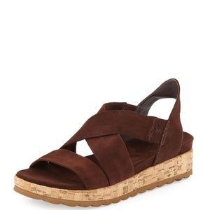 "Bernardo ""Lisa"" Suede Crisscross Sandal, Chocolate"